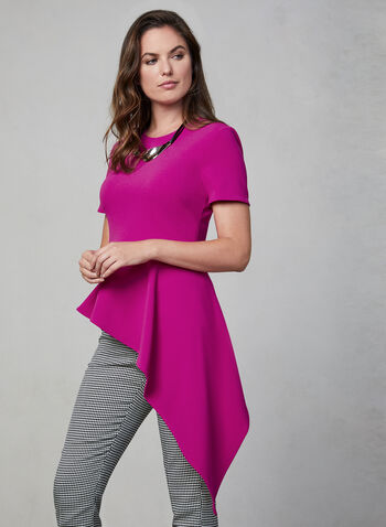 Vince Camuto - Asymmetrical Blouse, Pink, hi-res,  Vince Camuto, blouse, top, short sleeves, scuba crepe, asymmetrical, fall 2019, winter 2019