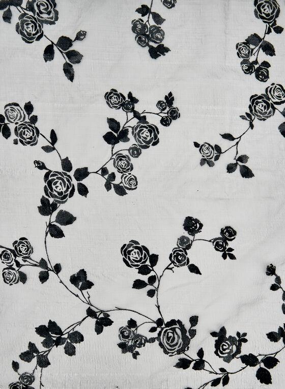 Foulard à imprimé floral en velours floqué, Bleu