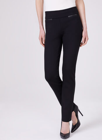 Pantalon pull-on Madison à jambe étroite, Noir, hi-res