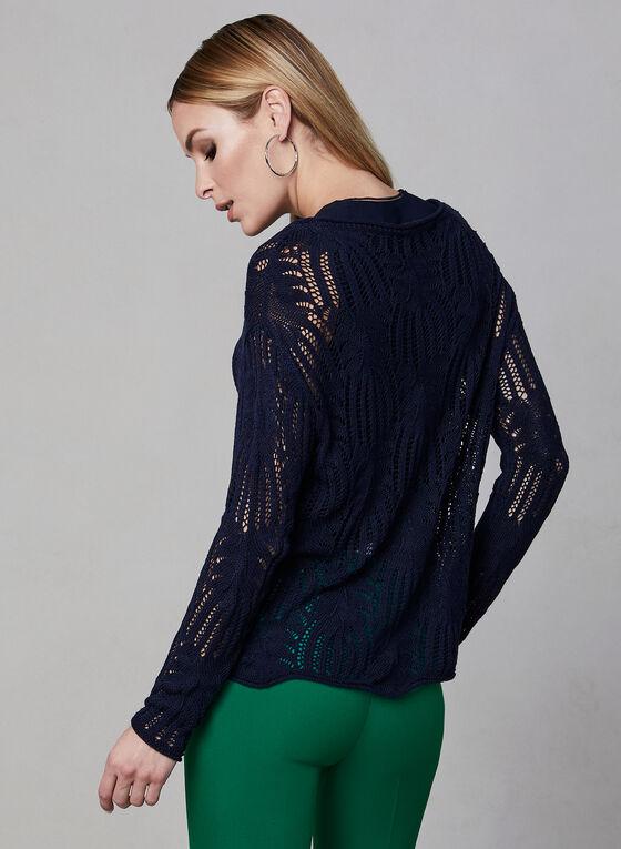 Scalloped Hem Crochet Sweater, Blue, hi-res