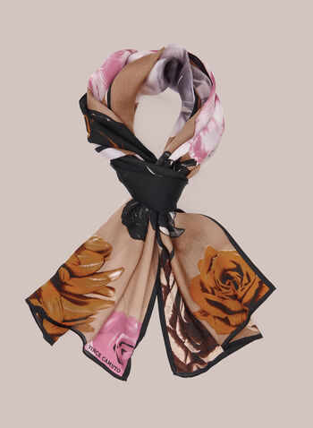Floral Print Silk Scarf, Black,  fall winter 2020, scarf, lightweight, silk, floral,