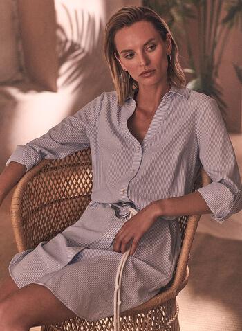 Belted Shirt Dress, White,  spring summer 2021, shirt dress, dresses, belts, striped, v neck, 3/4 sleeves, button down, button up,