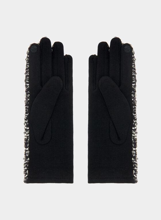 Bouclé Knit Gloves, Black, hi-res