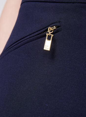 Pantalon Lauren bi-matière à jambe droite, Bleu, hi-res