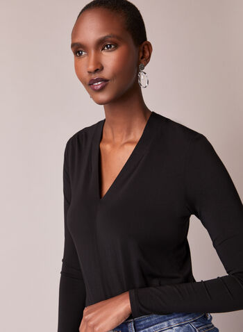 V-Neck Fitted Blouse, Black,  top, blouse, long sleeves, v-neck, fitted, fall winter 2020