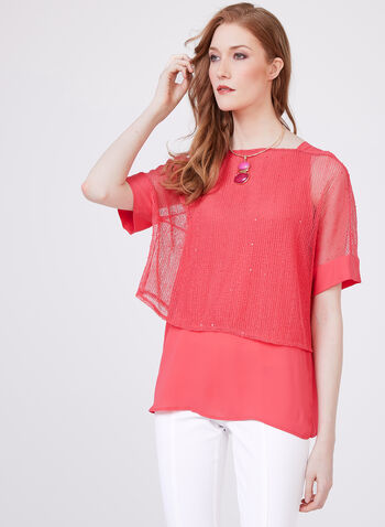 Conrad C - Layered Kimono Blouse, Orange, hi-res