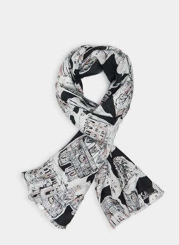 Karl Lagerfeld Paris - Foulard motif Paris, Noir,  foulard, paris, modal, soie, printemps été 2020