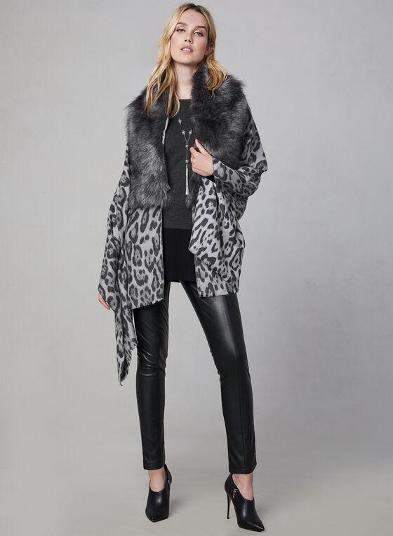 Écharpe léopard avec col de fausse fourrure, Gris, hi-res
