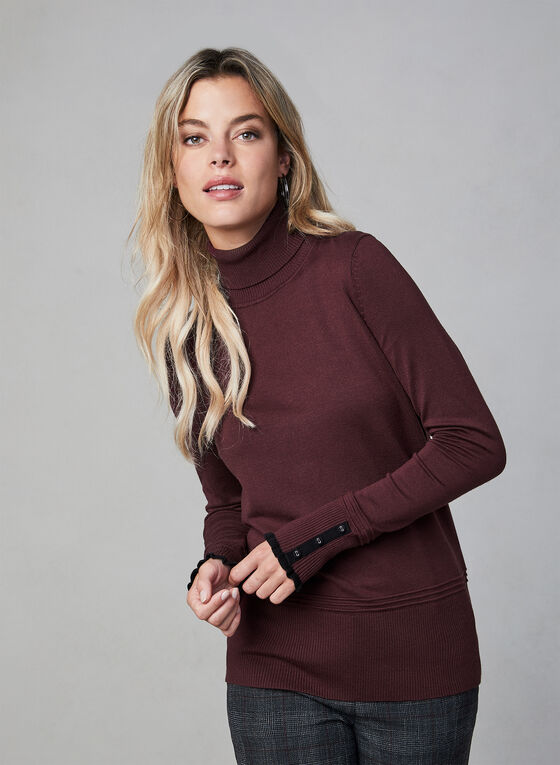 Ruffle Trim Turtleneck Sweater, Purple