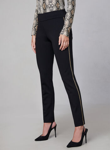 Madison Contrast Trim Pants, Black,  high rise, pull-on, slim leg, fall 2019, winter 2019, chain trim