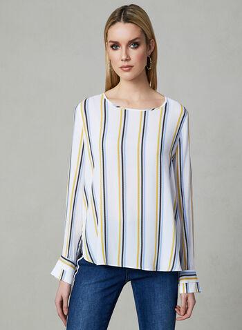Blouse motif zigzag à manches longues, Blanc, hi-res