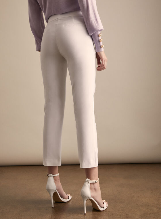 Zipper Detail Capri Pants, White
