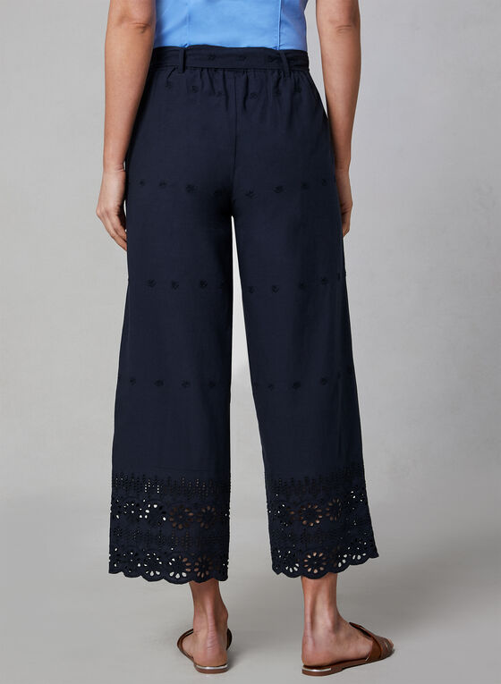 Pantalon brodé à jambe large, Bleu