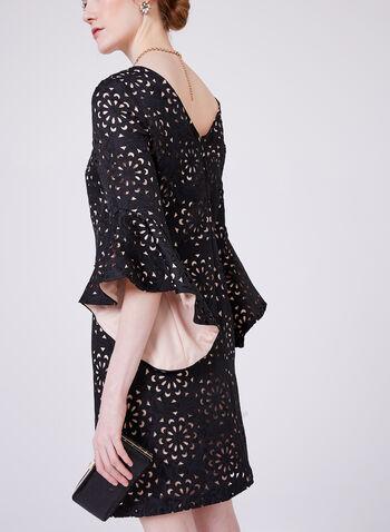 Jax - Robe contrastante à motif floral ajouré, Noir, hi-res