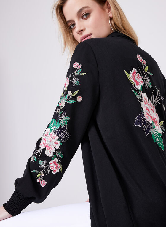 Floral Embroidered Jacket, Black, hi-res