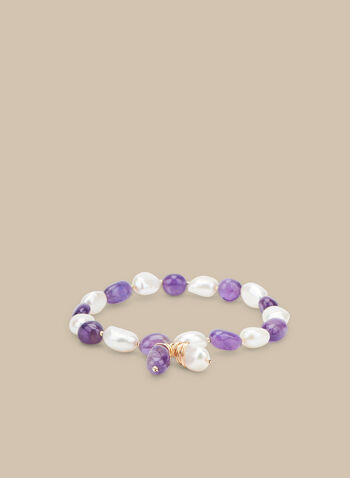 Stretch Pearl & Bead Bracelet, Purple,  bracelet, beads, pearls, elastic, spring 2020, summer 2020