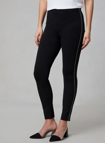 Ponte de Roma Slim Leg Pants, Black, hi-res,  slim leg, pants, Ponte de Roma, pull-on, spring 2019