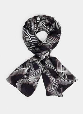 Silk Diamond Print Scarf, Black,  canada, scarf, silk, silk scarf, diamond print, printed scarf, long scarf, holiday, fall 2019, winter 2019