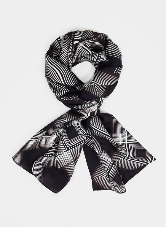 Silk Diamond Print Scarf, Black