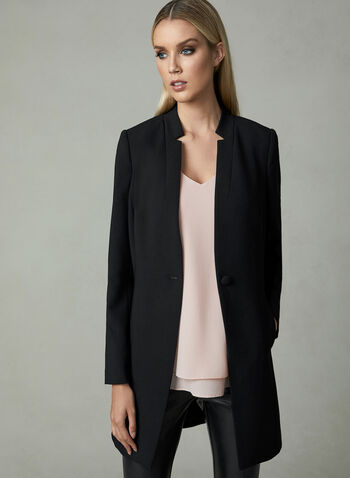 Notched Collar Redingote Jacket, Black, hi-res