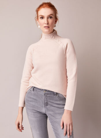 Cable Knit Detail Sweater, Light Pink,  fall winter 2020, sweater, pullover, funnel neck, knit, long sleeve, cable knit, ribbing, ribbed, comfort, stretch, made in canada, cozy, warm