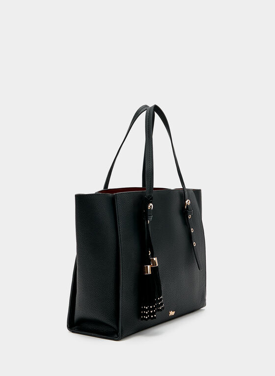 Faux Leather Tote, Black, hi-res