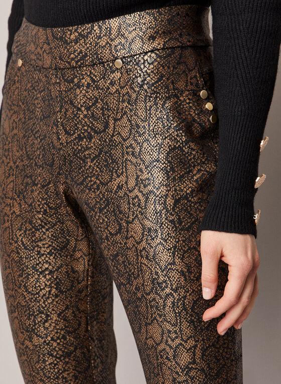 Snake Print Slim Leg Pants, Brown