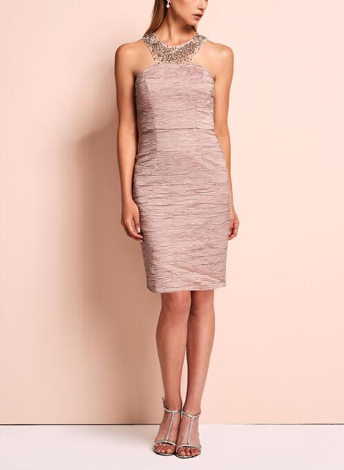 Decode 1.8 - Embellished Crushed Sheath Dress, Pink, hi-res