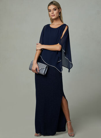 Frank Lyman - Poncho Evening Dress, Blue, hi-res,