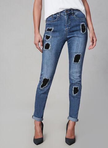Joseph Ribkoff - Jeans à effet usé et cristaux, Bleu, hi-res,  jeans roulé, patchs, écussons, strass, 5 poches, automne hiver 2019, jeans de designer, designer