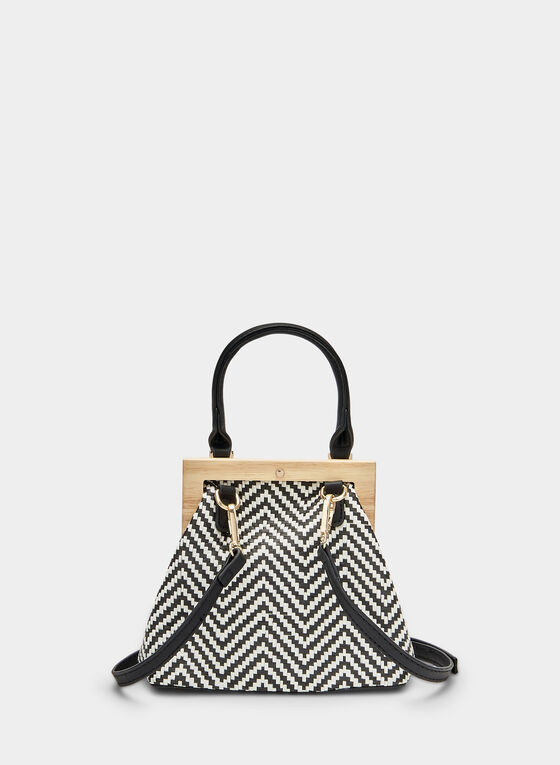 Wood Frame Handbag, Black