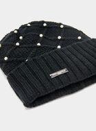 Pearl Embellished Knit Toque, Black, hi-res