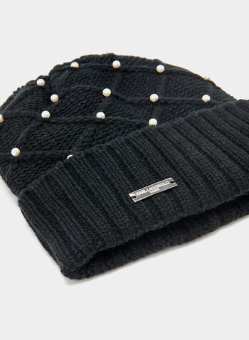 Karl Lagerfeld Paris - Pearl Embellished Knit Toque, Black, hi-res