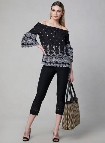 Embroidered Capri Pants, Black,  capri pants, embroidery, pull-on, elastic waist, spring 2019
