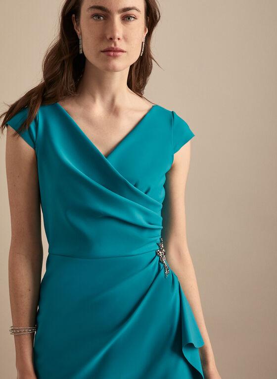 Alex Evenings - Robe fourreau à détail bijou, Bleu