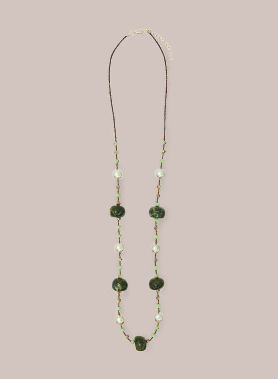Pearl & Resin Bead Necklace, Green