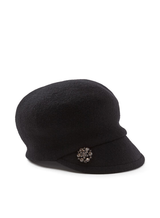 Crystal Embellished Newsboy Hat, Black, hi-res