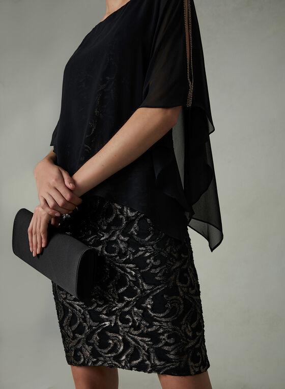 Frank Lyman - Robe poncho en brocard, Noir, hi-res