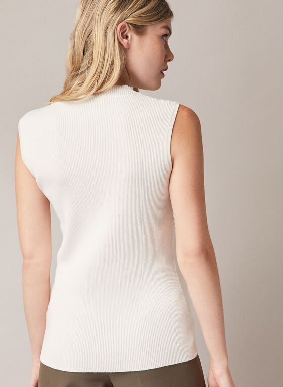 Sleeveless Mock Neck Sweater, Off White