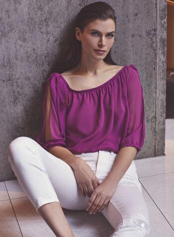 Joseph Ribkoff - Sequin & Rhinestone Detail Jeans, White,  jeans, slim leg, pockets, rhinestone sequin, distressed, ecom exclusive, ribkoff, lyman, spring summer 2021