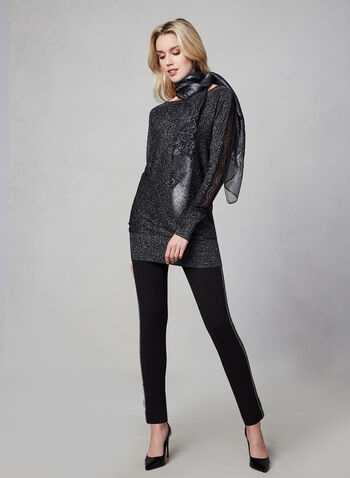 Lace Insert Knit Sweater, Black, hi-res,  knit, glittering, lace, textured, long sleeves, fall 2019, winter 2019