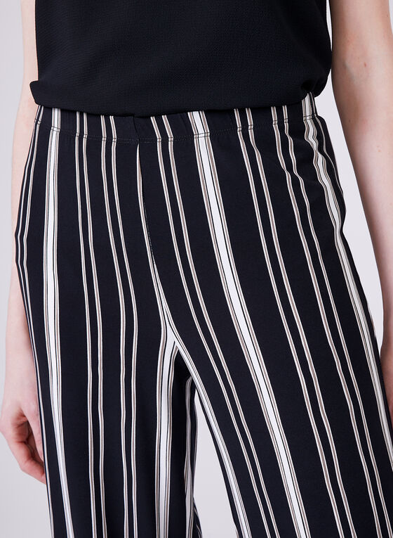Striped Wide Leg Pull-On Pants, Black