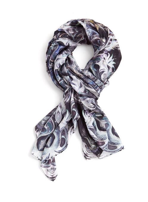 Foulard carré à motif abstrait, Noir, hi-res