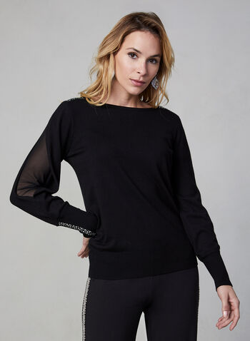 Mesh Blouson Sleeve Sweater, Black, hi-res,  fall winter 2019, blouson sleeves, long sleeves, crystal details