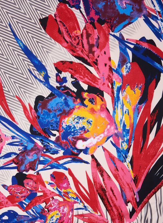 Foulard carré fleuri et chevrons, Bleu