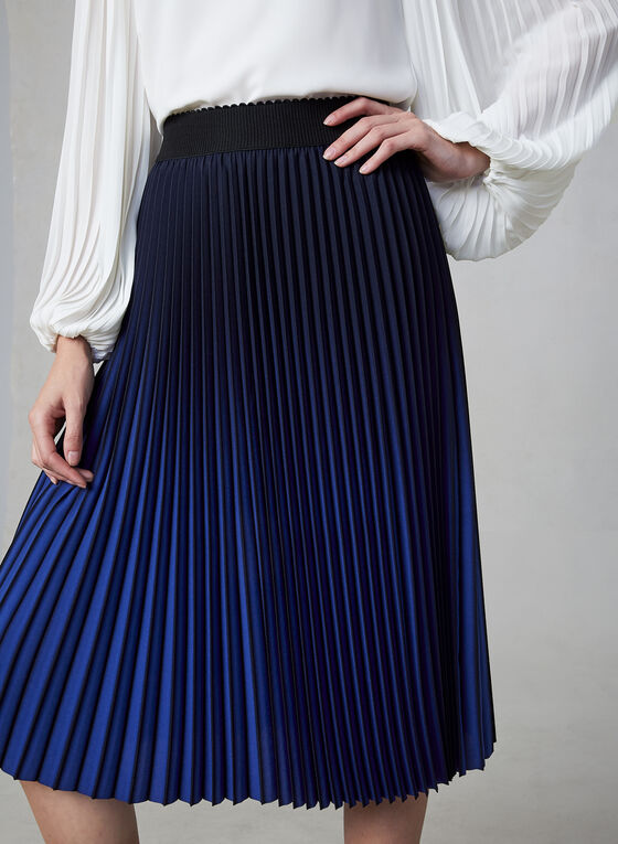 Pleated Ombré Skirt, Black