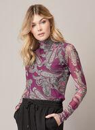 Paisley Print Mesh Top, Purple