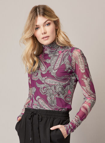 Paisley Print Mesh Top, Purple,  fall winter 2020, paisley print, top, long sleeves, mesh, made in canada, fitted
