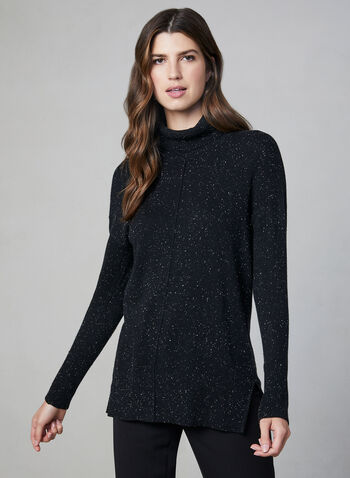 Speckled Knit Turtleneck, Black, hi-res,  knit, sweater, turtleneck, long sleeves, fall 2019, winter 2019