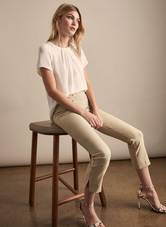 Zipper Detail Capri Pants, Off White